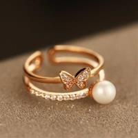 【米蘭精品】玫瑰金戒指鑲鑽銀飾-優雅精美蝴蝶73by31