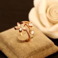 【米蘭精品】玫瑰金戒指鑲鑽銀飾-精美開花富貴百搭母親節生日情人節禮物女飾品73by46