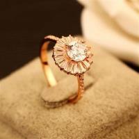 【米蘭精品】玫瑰金戒指鑲鑽銀飾-奢華閃亮高貴流行母親節生日情人節禮物女飾品73by45