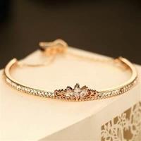 【米蘭精品】玫瑰金純銀手鍊鑲鑽手環高貴精美皇冠百搭73bx32