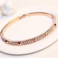 【米蘭精品】玫瑰金純銀手鍊鑲鑽手環經典高貴時尚滿鑽73bx40