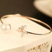 【米蘭精品】玫瑰金純銀手鍊珍珠手環唯美溫柔蝴蝶設計73bx47
