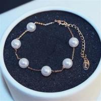 【米蘭精品】玫瑰金純銀手鍊珍珠手環經典時尚流行73bx51