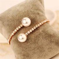 【米蘭精品】玫瑰金純銀手鍊珍珠手環春夏風格時尚滿鑽73bx53