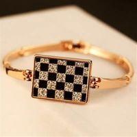 【米蘭精品】玫瑰金純銀手環鑲鑽手鍊獨特優美方格設計73bx62