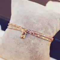 【米蘭精品】玫瑰金純銀手環鑲鑽手鍊經典奢華氣質個性73bx65