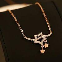【米蘭精品】玫瑰金純銀項鍊鑲鑽吊墜亮麗星形時尚百搭73bw9