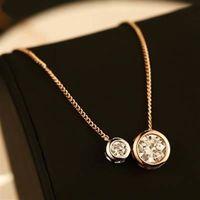【米蘭精品】玫瑰金純銀項鍊鑲鑽吊墜時尚韓系精美流行73bw12