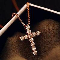 【米蘭精品】玫瑰金純銀項鍊鑲鑽吊墜獨特閃亮十字造型73bw14