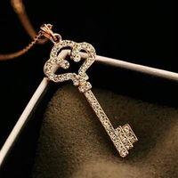 【米蘭精品】玫瑰金純銀項鍊鑲鑽吊墜韓系獨特鑰匙造型73bw34
