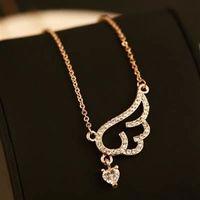【米蘭精品】玫瑰金純銀項鍊鑲鑽吊墜尊貴大方天使之翼造型73bw37