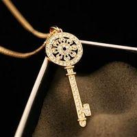 【米蘭精品】玫瑰金純銀項鍊鑲鑽吊墜閃亮鑰匙造型73bw46