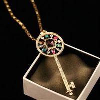 【米蘭精品】玫瑰金純銀項鍊水晶吊墜精緻彩色鑰匙風格73bw50