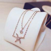 【米蘭精品】玫瑰金純銀項鍊鑲鑽吊墜優雅歐美海星造型73bw57