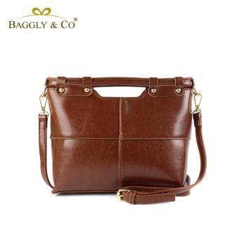【BAGGLY&CO】日光質感真皮手提側背包(二色)