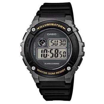 【CASIO】 元氣數位美學實用必備休閒錶-黑x銀框 (W-216H-1B)