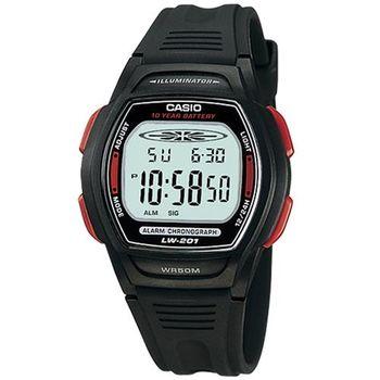 【CASIO】 10年電量電子運動錶-黑x紅 (LW-201-4A)