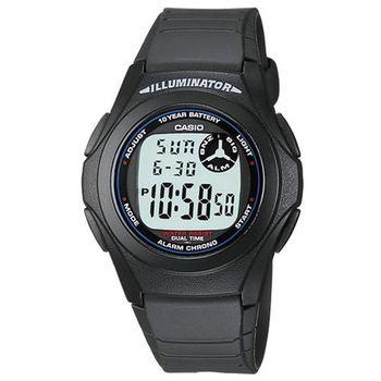 【CASIO】 超強10年電力數位錶-黑色白字 (F-200W-1A)