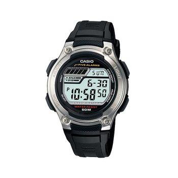 【CASIO】 兩地時間休閒數字錶-黑膠帶 (W-212H-1A)