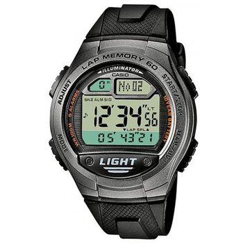【CASIO】電力『10 』足 數位世界電子錶-黑X銀 (W-734-1A)