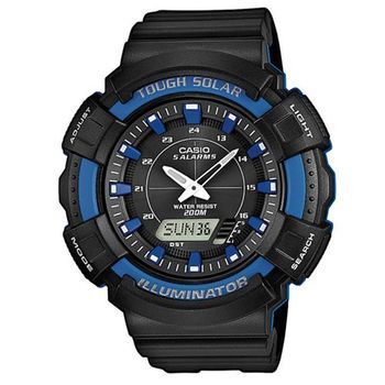 【CASIO】 全方位太陽能多機能雙顯錶-藍 (AD-S800WH-2A2)