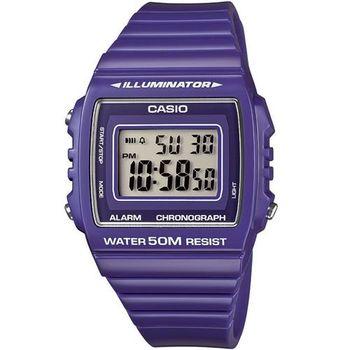 【CASIO】 超亮LED大螢幕方形數位錶-活力紫 (W-215H-6A)