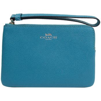 COACH 58032 馬車LOGO烙印防刮全皮革零錢包/手拿包.藍綠