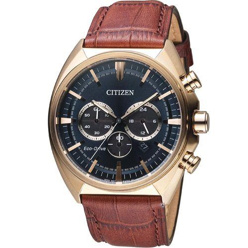 CITIZEN 星辰 光動能碼錶計時男錶 CA4283-04L 玫瑰金