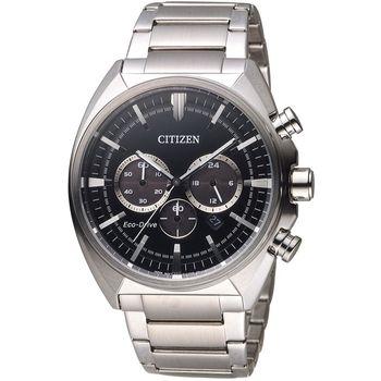 CITIZEN 星辰 光動能碼錶計時男錶 CA4280-53E 黑x銀