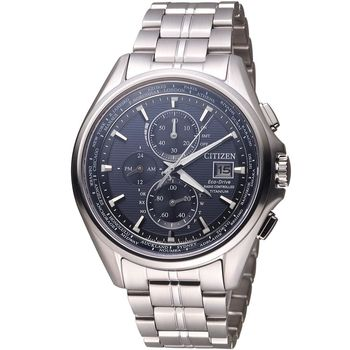 CITIZEN 星辰 光動能全球電波時計腕錶 AT8130-56L 藍