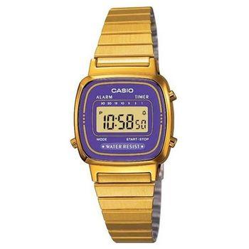 【CASIO】金色質感電子錶-紫羅蘭 (LA-670WGA-6)