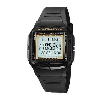 【CASIO】電力『10 』足 黑金酒桶型電子錶 (DB-36-9A)