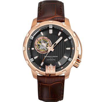 GIORGIO FEDON 1919  Timeless I 經典機械腕錶 GFAQ024 黑x咖啡