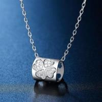 【米蘭精品】925純銀項鍊鑲鑽吊墜別緻幸運草造型73hj1