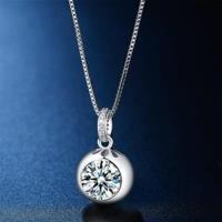 【米蘭精品】925純銀項鍊鑲鑽吊墜可愛迷人時尚百搭73hj3