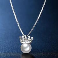 【米蘭精品】925純銀項鍊鑲鑽吊墜甜美華麗珍珠皇冠73hj6