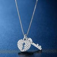 【米蘭精品】925純銀項鍊鑲鑽吊墜甜蜜愛戀心鎖設計73hj8