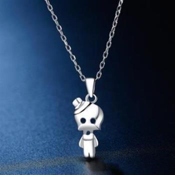 【米蘭精品】925純銀項鍊吊墜可愛外星人造型73hj16