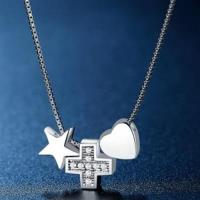 【米蘭精品】925純銀項鍊鑲鑽吊墜創意星星愛心設計73hj17