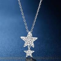 【米蘭精品】925純銀項鍊鑲鑽吊墜時尚閃耀星星造型73hj23