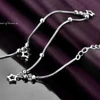 【米蘭精品】925純銀腳鍊銀飾經典流行可愛星星73ib4