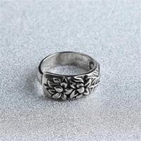 【米蘭精品】925純銀戒指花朵開口戒復古大花寬面個性73gp23
