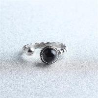 【米蘭精品】925純銀戒指瑪瑙開口戒經典百搭高貴時尚73gp24