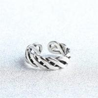 【米蘭精品】925純銀戒指麻花開口戒簡約編織百搭時尚73gp33