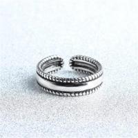 【米蘭精品】925純銀戒指絞繩開口戒復古大方時尚精緻73gp34