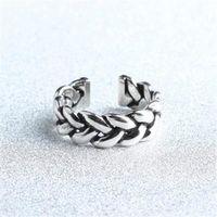 【米蘭精品】925純銀戒指編織開口戒簡約百搭時尚流行73gp35