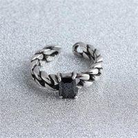 【米蘭精品】925純銀戒指瑪瑙開口戒經典編織時尚精美73gp41