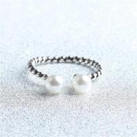 【米蘭精品】925純銀戒指珍珠開口戒時尚優雅經典麻花73gp42