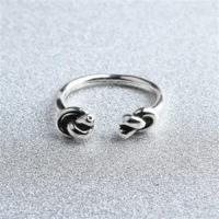 【米蘭精品】925純銀戒指雙結開口戒復古時尚百搭韓版73gp44