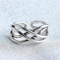 【米蘭精品】925純銀戒指線條開口戒韓版時尚大方寬版73gp47